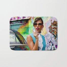Woman and graffitti Bath Mat