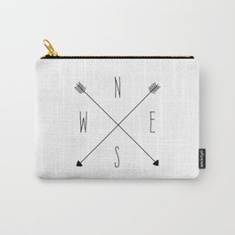Compass - North South East West - White Carry-All Pouch