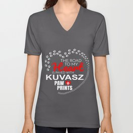 The Road To My Heart Is Paved With Kuvasz Paw Prints Unisex V-Neck