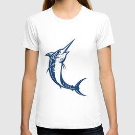 Blue Marlin Jumping Retro T-shirt