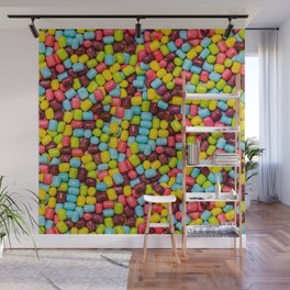 Cotton Candy Marshmallow Candies Pattern Wall Mural