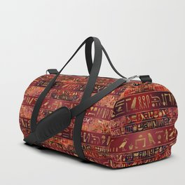 Egyptian hieroglyphs gold on red painted texture Duffle Bag