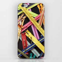 Zippers for clothes on black iPhone Skin