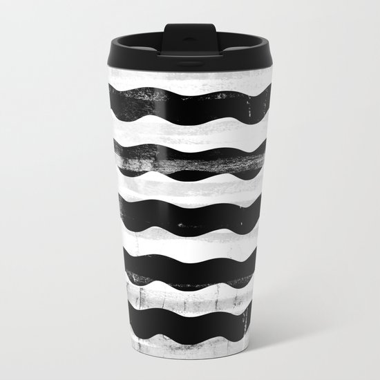 Black Waves Metal Travel Mug