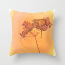 Harvest Mouse on Seed Head Throw Pillow