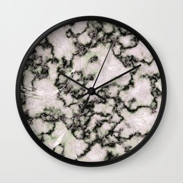 Blush Pink and Mint Marbled Texture Wall Clock
