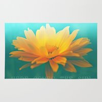 sunflower Area & Throw Rugs featuring SUNFLOWER  by Monika Strigel