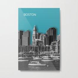 BOSTON Skyline | Graphic Art | turquoise Metal Print
