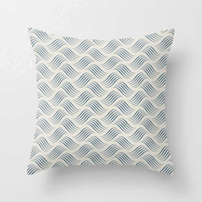 Blue Wavy Tessellation Line Pattern on Linen Off White - 2020 Color of the Year Throw Pillow