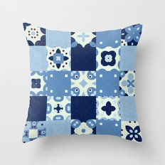 Aqua Blue Abstract Floor Tile Pattern Throw Pillow