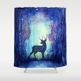 Reindeer in Magical Forest Shower Curtain