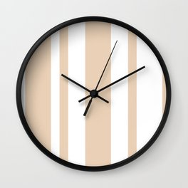 Mixed Vertical Stripes - White and Pastel Brown Wall Clock