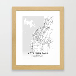 Kota Kinabalu, Malaysia - Light Map Framed Art Print