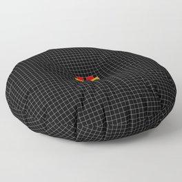 Pixel Love (rainbow square heart on black) Floor Pillow