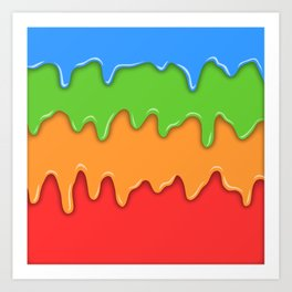 Bright color melt Art Print
