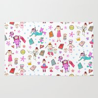 girl power Area & Throw Rugs featuring Girl Power by Art Tree Designs