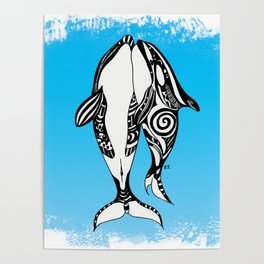 Two Orca Whales Tribal Blue Art Poster