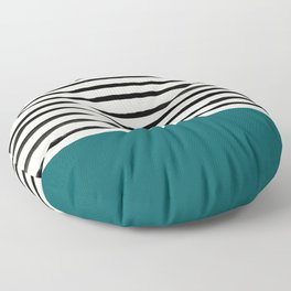 Dark Turquoise & Stripes Floor Pillow