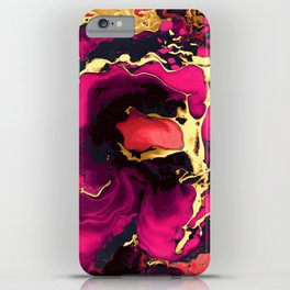 Gold purple and black Marble acrylic paint art iPhone Case