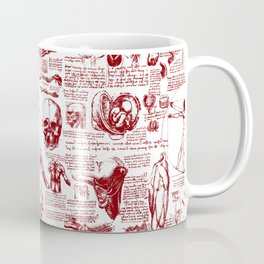 Da Vinci's Anatomy Sketchbook // Dark Red Coffee Mug
