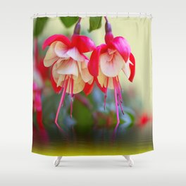 Fuchsias on the water Shower Curtain