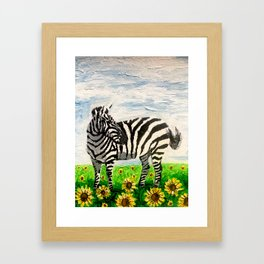 Stripes and Sunflowers Framed Art Print