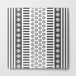Black & White Patterned Design Metal Print