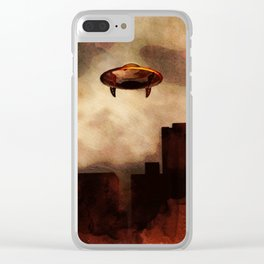 UFO Skyline Clear iPhone Case