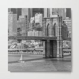NEW YORK CITY Brooklyn Bridge and East River Metal Print