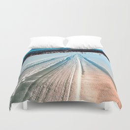 Winter road into the mountains Duvet Cover