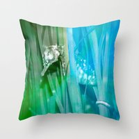 psychadelic Throw Pillows featuring Psychadelic Seahorse by Heidi Fairwood