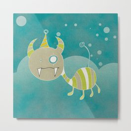 Party-Animal in the Night Bubbles Metal Print