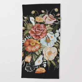 Roses and Poppies Bouquet on Charcoal Black Beach Towel