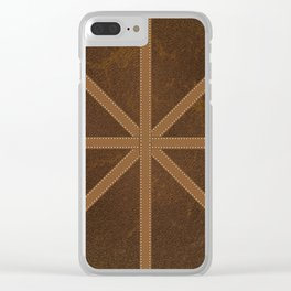 Digitial Faux Brown Leather and Union Jack Cross Design Clear iPhone Case