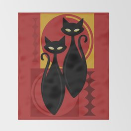 Devilishly Delightful Atomic Age Black Kitschy Cats Throw Blanket