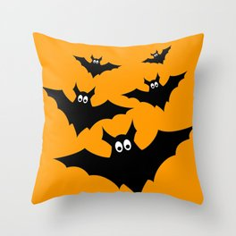 Cool cute Black Flying bats Halloween Throw Pillow