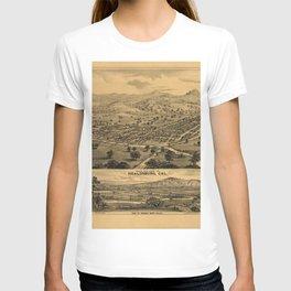 Vintage Bird's Eye Map Illustration - Healdsburg, California (1876) T-shirt