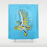 deco Shower Curtains featuring Hawk Deco by Jorge Garza