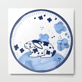 Spring Rabbit / Blue Watercolor Pattern Metal Print