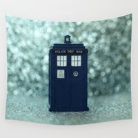 dr who Wall Tapestries featuring Dr. Who Police Box by Nature In Art...