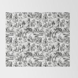 Alice in Wonderland | Toile de Jouy | Black and White Throw Blanket