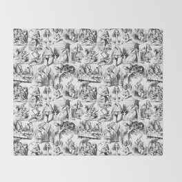 Alice in Wonderland | Toile de Jouy Pattern | Black and White | Vintage Pattern | Victorian Gothic | Throw Blanket