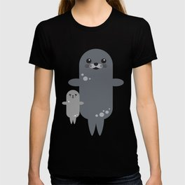 Cute Seal Pup Swimming with Mom T-shirt