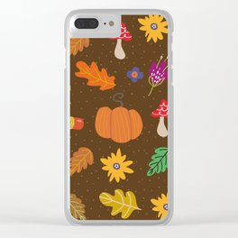 Autumn Fall Leaves Flower Pattern Clear iPhone Case