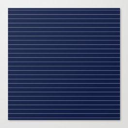 Navy Blue Pinstripe Lines Canvas Print