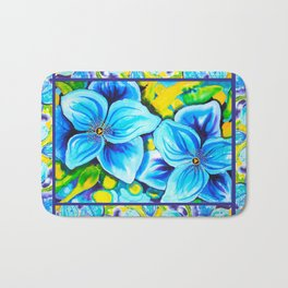 Blue Poppies 3 with Border Bath Mat