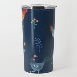 Little Hens (blue) Travel Mug