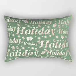 shiny font happy holidays in green rose Rectangular Pillow