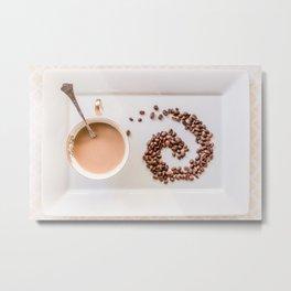Hot Coffee & Coffee Bean Swirl Metal Print