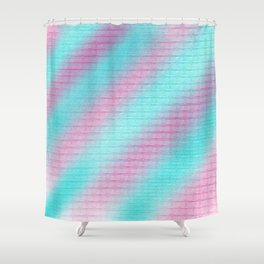 Artistic hand painted pink teal geometrical pattern Shower Curtain